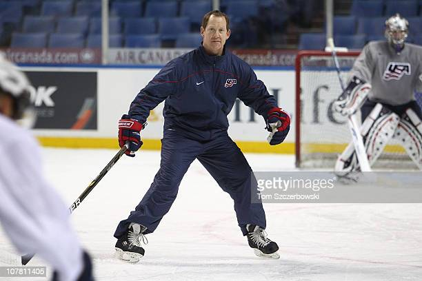 Assistant coach Phil Housley of USA during practice before the 2011 IIHF World U20 Championship Group A game between USA and Finland on December 26...