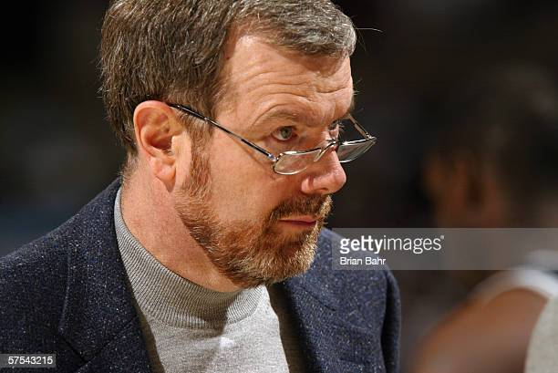 Assistant coach PJ Carlesimo of the San Antonio Spurs during the game against the Denver Nuggets on March 22 2006 at the Pepsi Center in Denver...