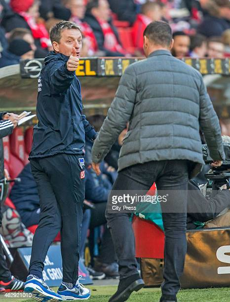 assistant coach Rainer Widmayer of Hertha BSC gestures during the game between FSV Mainz and Hertha BSC on february 7 2015 in Mainz Germany