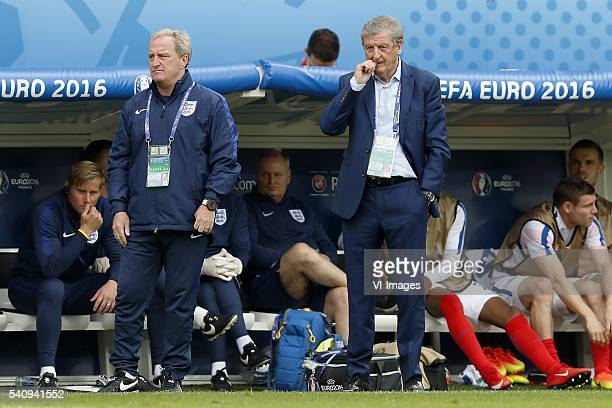 assistant coach Ray Clemence of England coach Roy Hodgson of England during the Euro group stage match between England and Wales at the Stade...