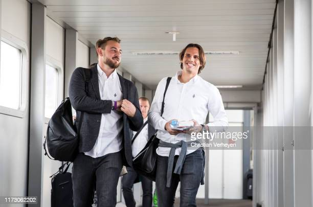 Assistant Coach Rene Maric and Yann Sommer of Borussia Moenchengladbach departs to the UEFA Europa League match in Istanbul at Duesseldorf Airport on...
