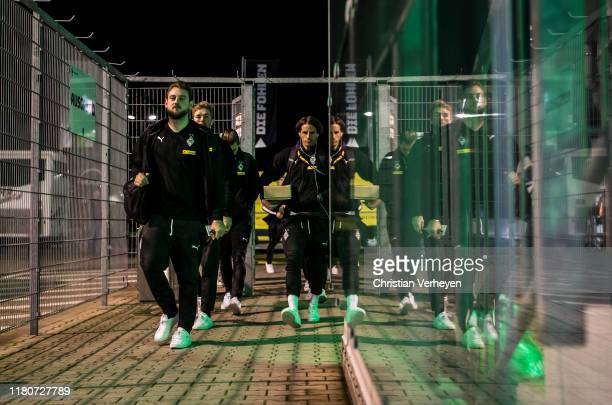Assistant Coach Rene Maric of Borussia Moenchengladbach Christoph Kramer and Yann Sommer of Borussia Moenchengladbach are seen before the UEFA Europa...