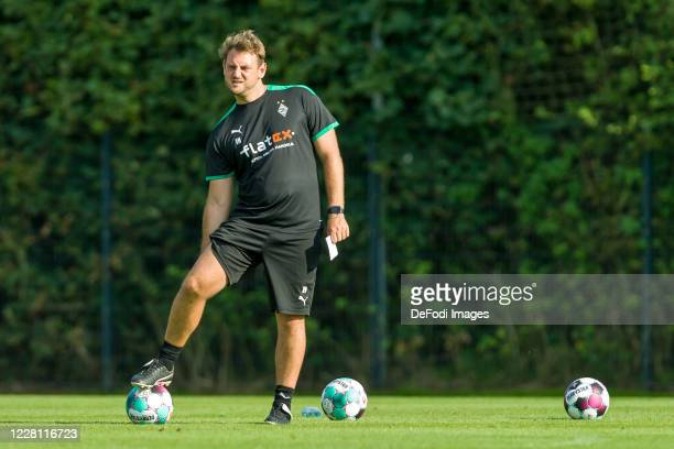 Assistant coach Rene Maric of Borussia Moenchengladbach looks on during day 3 of the pre-season summer training camp of Borussia Moenchengladbach on...