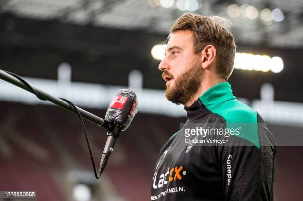 Assistant Coach Rene Maric of Borussia Moenchengladbach talks to the media ahead the Bundesliga match between 1 FC Koeln and Borussia...
