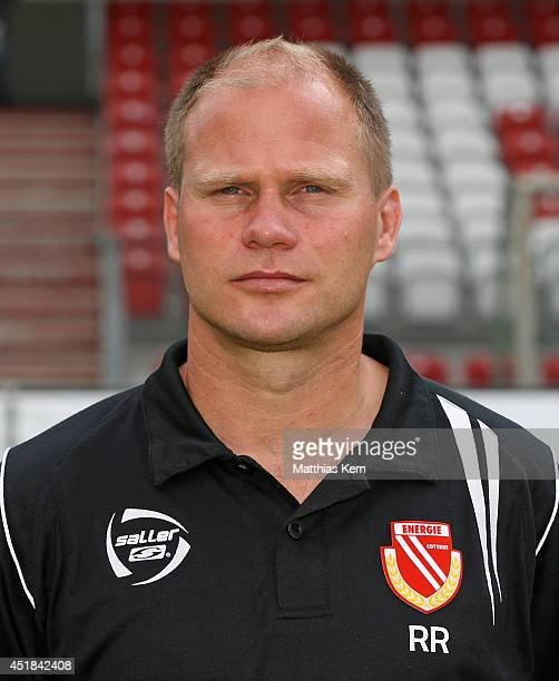 Assistant coach Rene Rydlewicz poses during the FC Energie Cottbus team presentation at Stadion der Freundschaft on July 8 2014 in Cottbus Germany