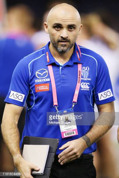 Assistant coach Rhys Shaw at quarter time during the round 10 AFL match between the Western Bulldogs and the North Melbourne Kangaroos at Marvel...