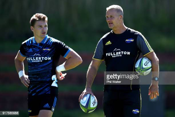 Assistant Coach Richard Watt with Beauden and Jordie Barrett during a Hurricanes Super Rugby training session at Rugby League Park on February 13...