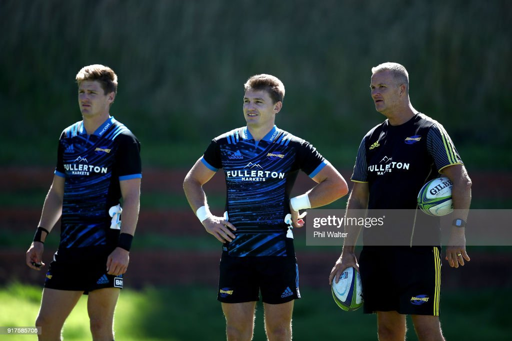 Assistant Coach Richard Watt with Beauden and Jordie Barrett during a Hurricanes Super Rugby training session at Rugby League Park on February 13, 2018 in Wellington, New Zealand.