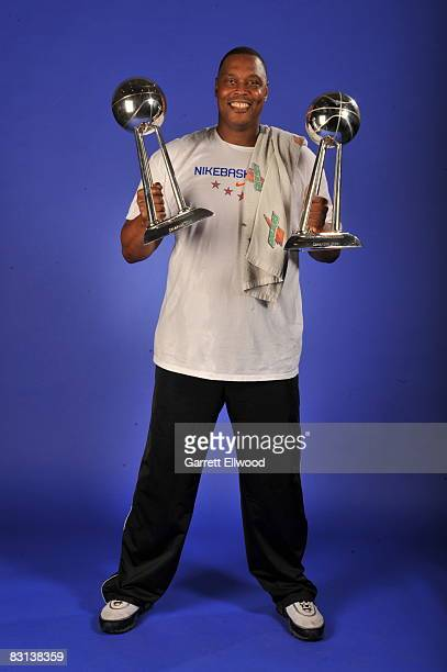 Assistant Coach Rick Mahorn of the Detroit Shock poses for a portrait after winning Game Three of the WNBA Finals against the San Antonio Silver Star...