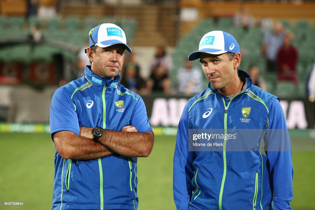 Assistant coach Ricky Ponting and head coach Justin Langer look on after the International Twenty20 match between Australia and Sri Lanka at Adelaide Oval on February 22, 2017 in Adelaide, Australia.