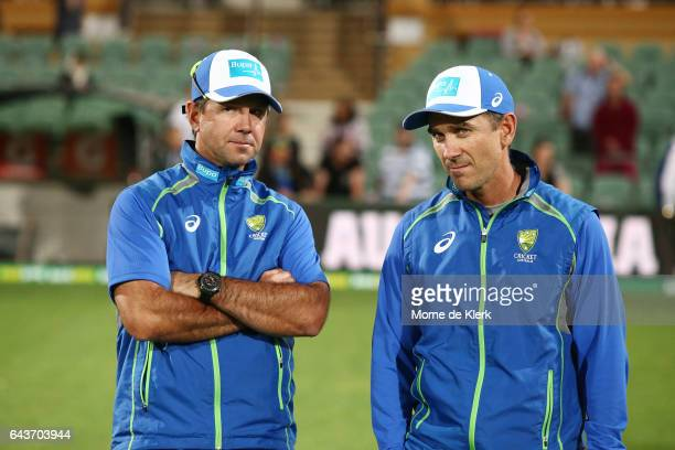 Assistant coach Ricky Ponting and head coach Justin Langer look on after the International Twenty20 match between Australia and Sri Lanka at Adelaide...
