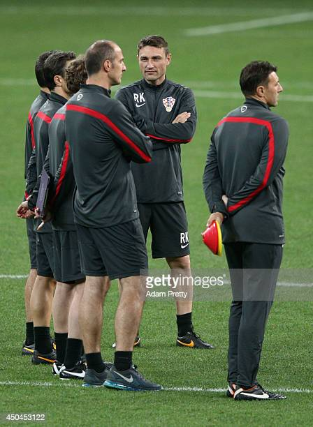 Assistant coach Robert Kovac looks on with members of the team staff during a Croatia Training session ahead of the 2014 FIFA World Cup Brazil...