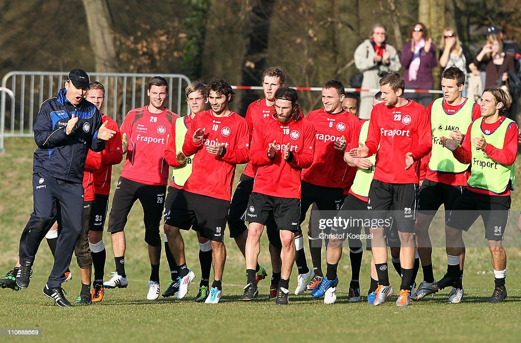 Assistant coach Roland Koch of Frankfurt issues instructions to the team during a training session on the training ground at the Commerzbank Arena on March 23, 2011 in Frankfurt am Main, Germany. Christoph Daum has signed a contract til the end of the season. Christoph Daum follows Michael Skibbe as new head coach and has signed a contract til the end of the season.