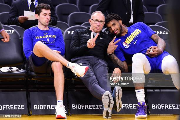 Assistant coach Ron Adams and Marquese Chriss of the Golden State Warriors poses for a photo before the game on December 15 2019 at Chase Center in...