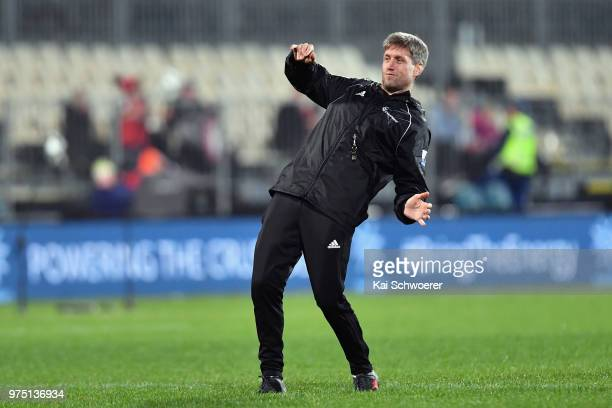 Assistant Coach Ronan O'Gara of the Crusaders reacts prior to the match between the Crusaders and the French Barbarians at AMI Stadium on June 15...