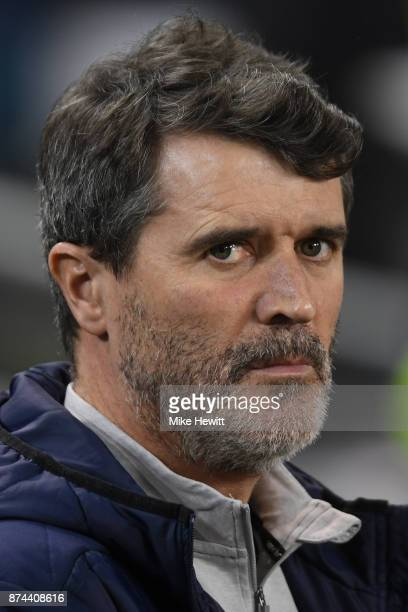Assistant coach Roy Keane of Ireland looks on during the FIFA 2018 World Cup Qualifier PlayOff Second Leg between Republic of Ireland and Denmark at...