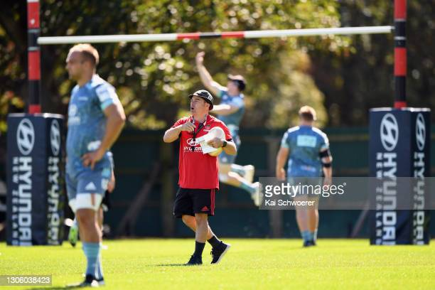 Assistant Coach Scott Hansen reacts during a Crusaders Super Rugby Aotearoa training session at Rugby Park on March 09, 2021 in Christchurch, New...