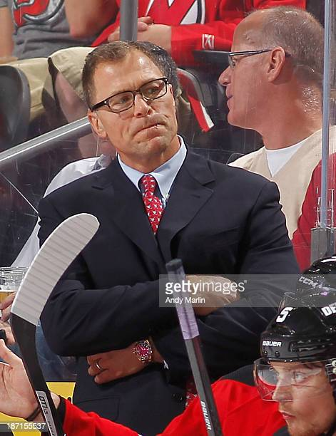 Assistant coach Scott Stevens of the New Jersey Devils looks on against the Philadelphia Flyers during the game at the Prudential Center on November...