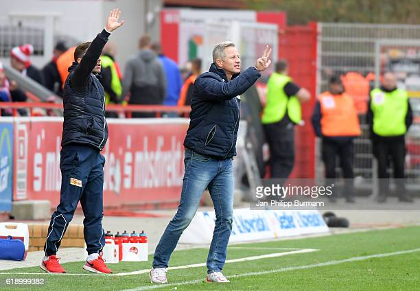 assistant coach Sebastian Boenig and coach Jens Keller of 1 FC Union Berlin during the game between the 1 FC Union Berlin and Fortuna Duesseldorf at...
