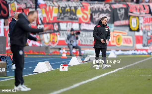 Assistant coach Sebastian Boenig of 1 FC Union Berlin during the second Bundesliga match between Eintracht Braunschweig and Union Berlin on February...