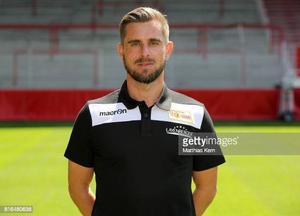 Assistant coach Sebastian Boenig of 1 FC Union Berlin poses during the team presentation at Stadion an der Alten Foersterei on July 17 2017 in Berlin...