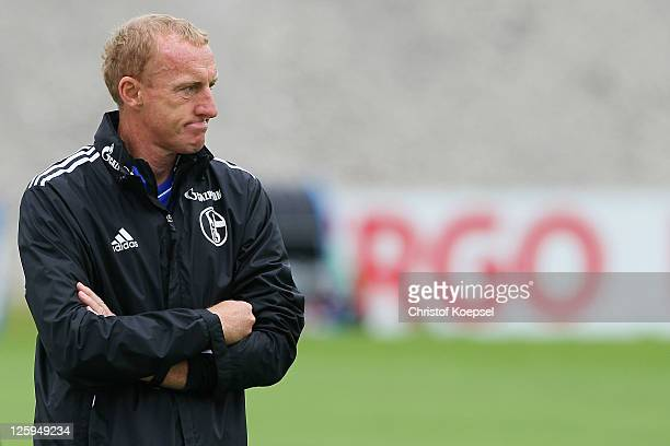 Assistant coach Seppo Eichkorn attends the FC Schalke training session at the Parkstadium on September 22, 2011 in Gelsenkirchen, Germany.