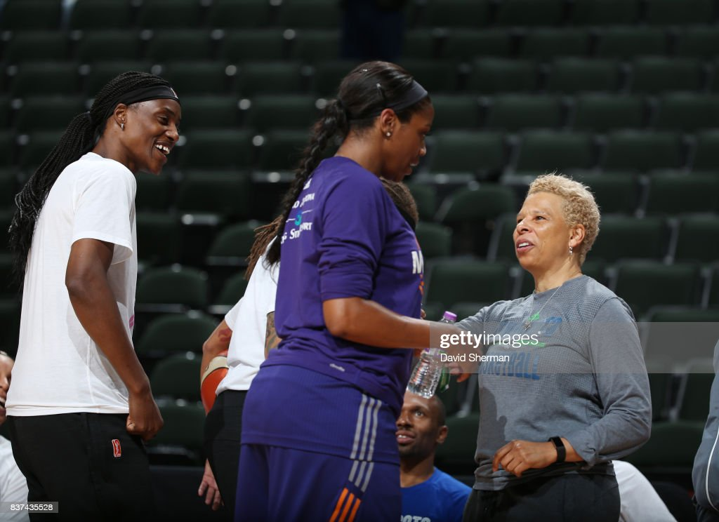 Assistant coach Shelley Patterson and Sylvia Fowles #34 of the Minnesota Lynx converse with Camille Little #20 of the Phoenix Mercury before the game on August 22, 2017 at Xcel Energy Center in St. Paul, Minnesota.