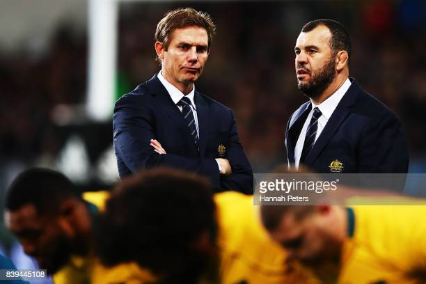 Assistant coach Stephen Larkham and head coach Michael Cheka of the Wallabies ahead of The Rugby Championship Bledisloe Cup match between the New...