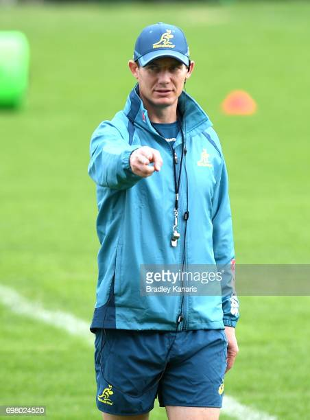 Assistant Coach Stephen Larkham gives instructions during an Australian Wallabies training session at Ballymore Stadium on June 20 2017 in Brisbane...