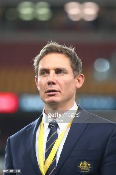 Assistant coach Stephen Larkham looks on during The Rugby Championship match between the Australian Wallabies and the South Africa Springboks at...