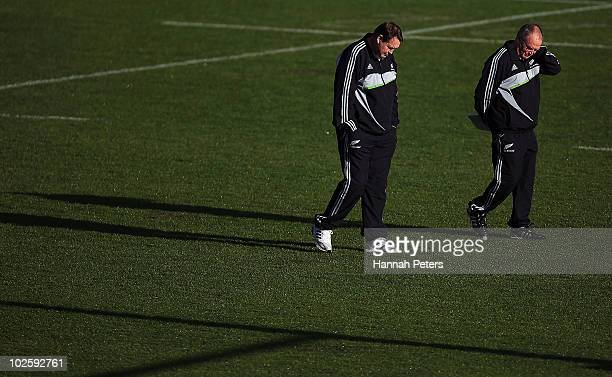 Assistant coach Steve Hansen and head coach Graham Henry during a New Zealand All Blacks training session at North Harbour Stadium on July 3 2010 in...