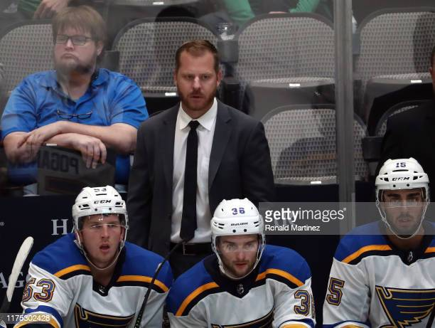 Assistant coach Steve Ott of the St. Louis Blues during a NHL preseason game at American Airlines Center on September 16, 2019 in Dallas, Texas.