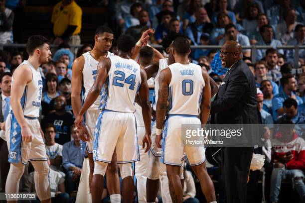 Assistant coach Steve Robinson coaches Andrew Platek Garrison Brooks Kenny Williams Nassir Little and Seventh Woods of the North Carolina Tar Heels...