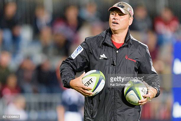 Assistant Coach Tabai Matson of the Crusaders looks on prior to the round eight Super Rugby match between the Crusaders and the Jaguares at AMI...