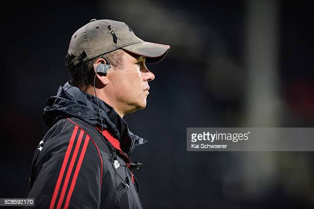 Assistant Coach Tabai Matson of the Crusaders looks on prior to the round 11 Super Rugby match between the Crusaders and the Reds at AMI Stadium on...