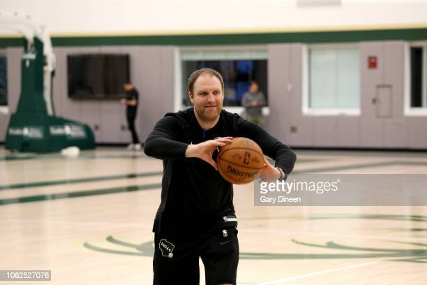 Assistant Coach Taylor Jenkins of Milwaukee Buck reacts during an allaccess practice on November 15 2018 at the Froedtert the Medical College of...