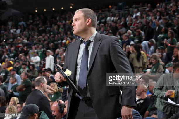 Assistant Coach Taylor Jenkins of the Milwaukee Bucks looks on against the Toronto Raptors during Game Two of the Eastern Conference Finals on May 17...