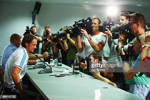 Assistant coach Thomas Schnbeider arrives for a Germany press conference at CommerzbankArena on September 1 2015 in Frankfurt am Main Germany