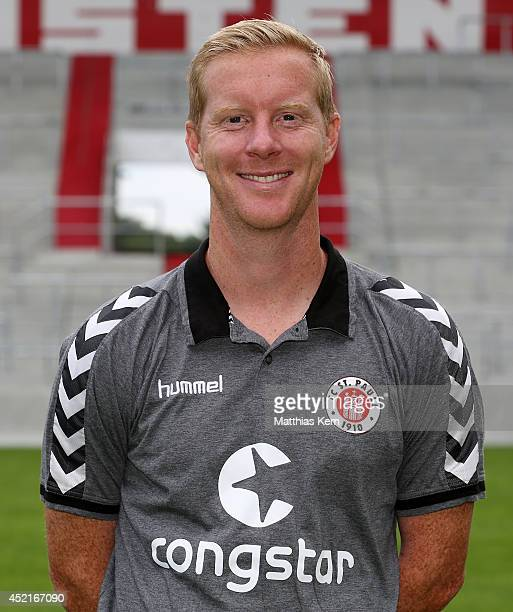 Assistant coach Timo Schultz poses during the FC St Pauli team presentation at Millerntor Stadium on July 14 2014 in Hamburg Germany