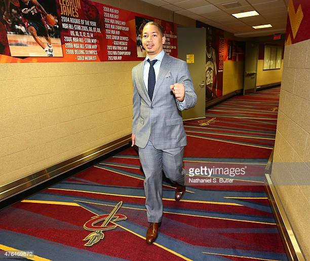 Assistant Coach Tyronn Lue of the Cleveland Cavaliers arrives prior to Game Three of the 2015 NBA Finals at The Quicken Loans Arena on June 9 2015 in...