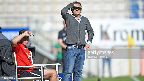 Assistant coach Uwe Speidel and head coach Norbert Meier of Bielefeld look on during the Third League match between Arminia Bielefeld and Dynamo...