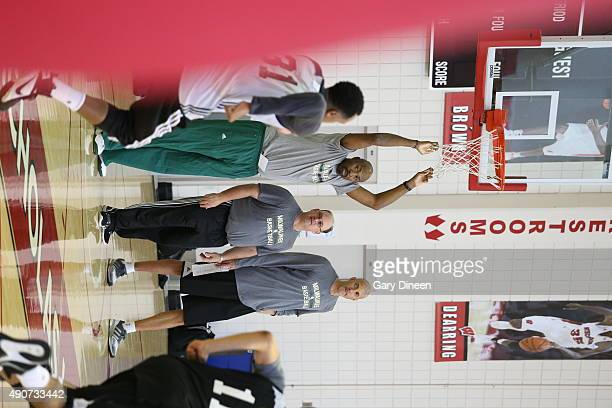 Assistant Coach Vin Baker of the Milwaukee Bucks looks on during training camp on September 30 2015 at the Nicholas Johnson Pavilion in Madison...
