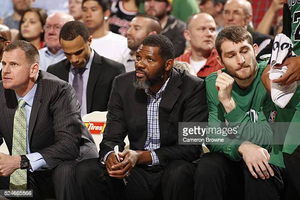 Assistant coach Walter McCarty of the Boston Celtics looks on during the game against the Portland Trail Blazers on March 31 2016 at the Moda Center...
