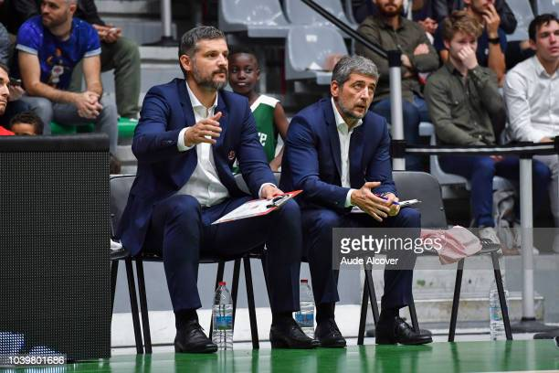 Assistant coaches Boban Savovic and Gerald Simon of Bourg en Bresse during the Jeep Elite match between Nanterre and Bourg en Bresse on September 24...