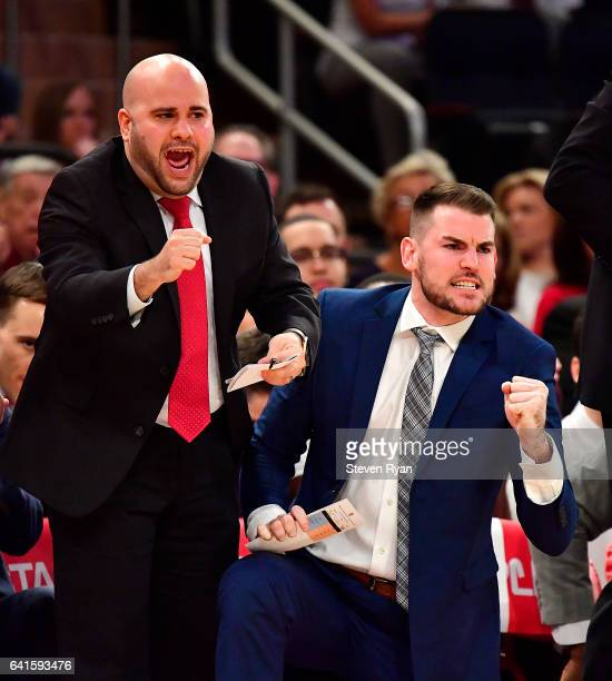 Assistant coaches Matt Abdelmassih and Greg St Jean of the St JohnÕs Red Storm celebrate a play against the Seton Hall Pirates during the first half...