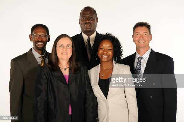 Assistant coaches Michael McIntyre Marianne Stanley head coach Michael Cooper and assistant coaches Courtney Watson and Bruce Deziel of the Los...