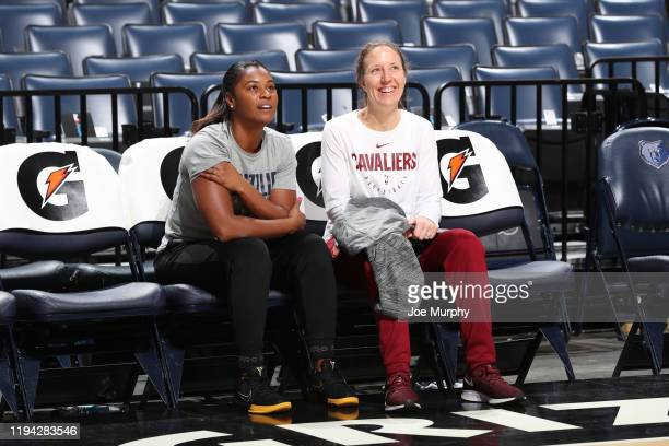 Assistant coaches Niele Ivey of the Memphis Grizzlies and Lindsay Gottlieb of the Cleveland Cavaliers shares a laugh before the game on January 17...