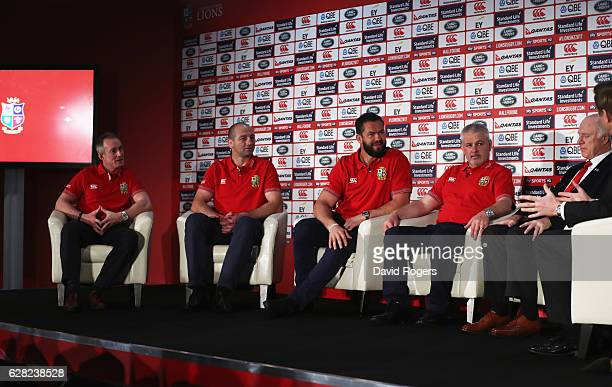Assistant coaches Rob Howley Steve Borthwick and Andy Farrell sit alongside head coach Warren Gatland during the 2017 British Irish Lions Coaching...