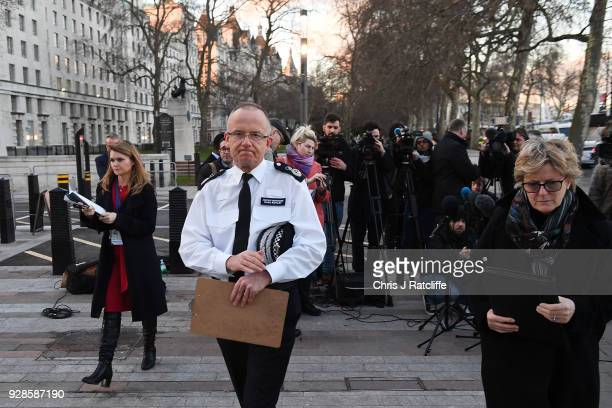 Assistant Commissioner Mark Rowley and Chief Medical Officer Dame Sally Davies leave after giving a statement on March 7 2018 in Salisbury England...