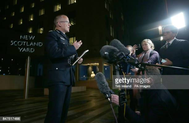 Assistant Commissioner Mark Rowley delivers a statement outside New Scotland Yard London after a terrorist incident was declared following a blast...